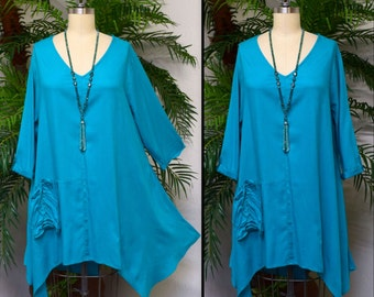 Lagenlook Tunic,  Asymmetrical Tunic, Turquoise Top , Plus size tunic, Swing Tunic with 3 Pockets . Size L/XL- 1XL/2XL- 3XL/4XL