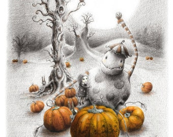 Pumpkin Love - Halloween - Spooky woods - pumpkin mad - forest - fairytale - Print