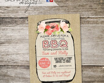 Rustic Baby Q Shower Invitation O Mason Jar Boho