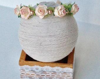 Peach Baby Headband - Baby Girl Flower crown - Baby Headband