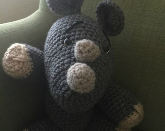 Ready to ship***Tommy the Rhino| Stuffed Animal| Crocheted Animal| Amigurumi | Handcrafted |Kids| Gift| Toy