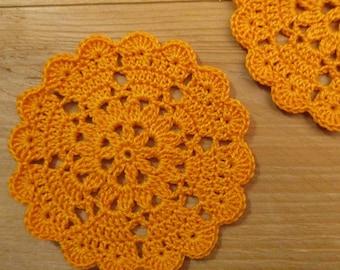 set of 2 coasters/mini-napperons orange crochet diameter 8 cm