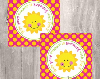 Printable Favor Tags, End of School Year, Party Favor Tags, Instant Download, Sun Favor Tags, fun summer printable tags