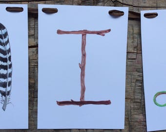 "Woodland name banner, ""Forest twigs I"" lettercard."