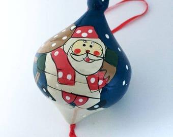 Vintage Wooden Santa Christmas Ornament