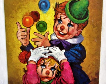 "Art Lithograph Winde Fine Printsl ""Clowns"" by Lee Vintage Adorable Faux Brush Strokes 8 x 10 NO.312"