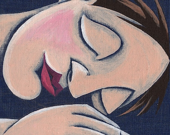 The sleeping man painting bedroom face sleeping man sleeping room tiny original painting