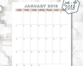 The 1 Page Calendar, Sunday Start | January - December 2018 | Letter Size | Printable Planner | Printable Calendar | OG Style