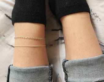 Silver Chain Anklet // Adjustable Silver Chain, Dainty and Elegant