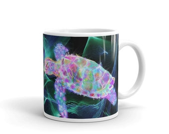 Colorful Rainbow Psychedelic New Age Ocean Sea turtle Mug