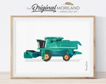 Combine Harvester Print, Transportation Wall Art, Tractor Combine, Tractor Birthday Party, Farmhouse Decor, Little Boy Room, Printable
