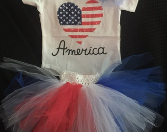 4th of July, Independence Day TuTu, Bodysuit and Headband