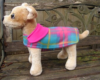 Dog Coat - Turquoise and Fuchsia  Plaid-XX Small 8-10 Inch Back Length- One Only