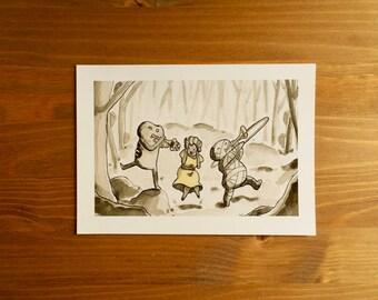 """Mummy, Zombie & Lady Belle """"Noisy"""" Watercolor Print 5x7 by Kendra Minadeo Nursery Art, Baby Art, Nursery Decor, Inktober"""