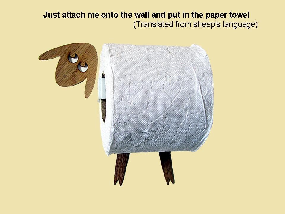 Sheep Toilet roll holder / Tissue Holder. Funny Wall Decal