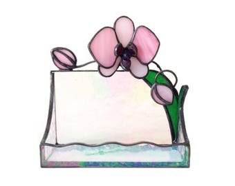 Orchid Stained Glass Busines Card Holder, Office Decoration, Pink, Ultraviolet & Clear
