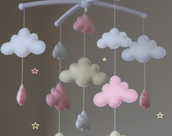 Sale! Gorgeous pink cloud mobile musical cot mobile cloud nursery pink beige white