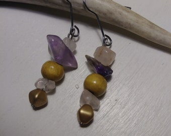 Handmade quartz crystal and wood earrings