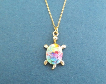 Animal necklace etsy tutle rainbow gold necklace modern dainty animal necklace birthday best friends sister gift jewelry aloadofball Image collections