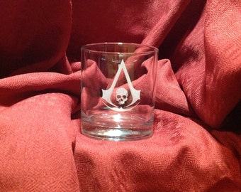 Assassin's Creed themed  engraved glassware