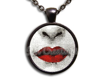 Red Lips - Round Glass Dome Pendant or with Necklace by IMCreations -  AP108