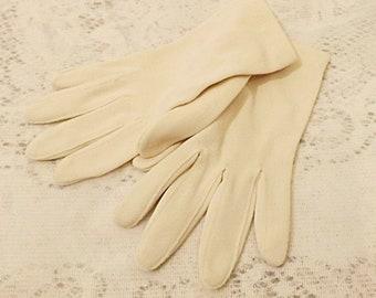 60's Women's Ivory Nylon Gloves Wedding or  Evening Gloves Size 7
