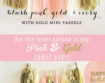 Pink and Gold Tassel Garland - Pink Tissue Garland - Pink and Gold Garland - Pink and Gold Tassle Garland - DIY Tassel Garland Kit (EB3086)