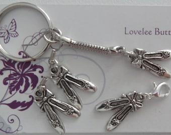 Ballet Set Earrings, Keyring & Clip Silver Handmade  Great Gift for the Ballerina
