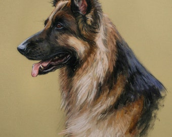 German Shepherd Alsation dog dog art dog gift dog lover gift LE fine art print available unmounted or mounted ready to frame