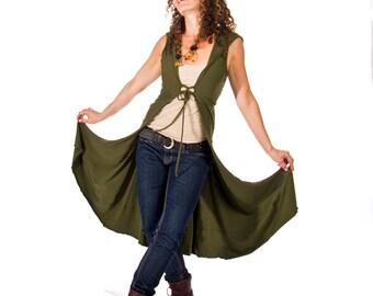 Long corset front vest/jacket with hood JEDI VEST dance wear, bellydance, coverup, wedding