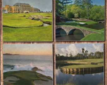 Famous Golf Course Tile Coaster Set - St. Andrews Old Course, Augusta National, Pebble Beach, TPC Sawgrass