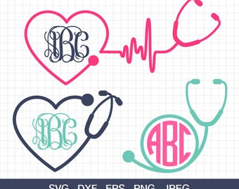 Nurse Svg, Stethoscope Svg, Stethoscope monogram frames Svg, Nurse Stethoscope Svg, Heartbeat SVG, Doctor SVG, for Silhouette & CriCut .
