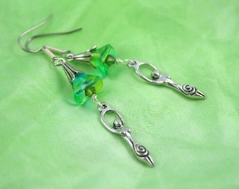 Forest Bellflower and Green Leaves Birth Goddess earrings