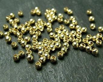 20pcs Gold Filled Plain Bead 2mm