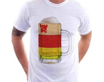 Santa  Barbara City Flag Beer Mug Tee, Home Tee, City Pride, City Flag, Beer Tee, Beer T-Shirt, Beer Thinkers, Beer Lovers Tee, Fun Beer Tee