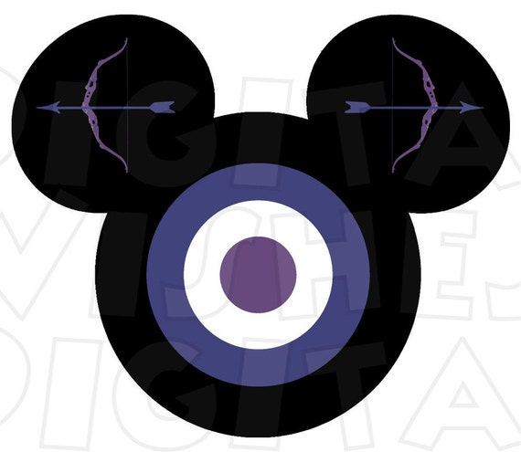 Hawkeye Avengers Mickey Mouse Head Digital Iron On Transfer