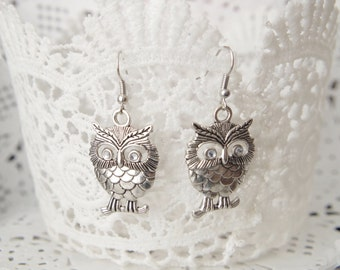 Antique Owl Earrings Owl Jewelry Owl Dangle Earrings Bird Earrings Bird Jewelry Halloween gift idea for mom Animal Jewelry Gift for her