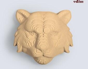 Tiger Head Relief - DIY Cardboard Craft