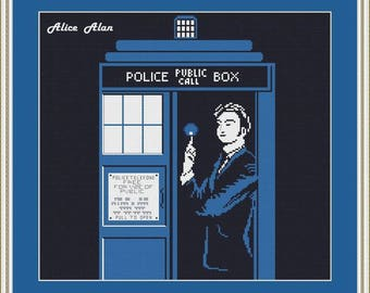 Cross Stitch Pattern Silhouette Doctor Who TARDIS  Police Box Time Machine Counted Cross Stitch Pattern / Instant Download Epattern PDF File
