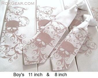 RokGear Boys skull necktie. pre tied 8 inch long boy's tie Distressed Skull