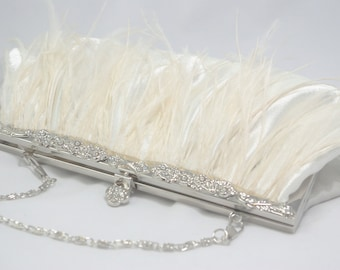 Ivory Clutch, Ivory Ostrich Feather Bridal Clutch, Ivory Wedding Handbag, Bridal Clutch, Ivory Bridesmaid, Great Gatsby Theme Flapper Bridal