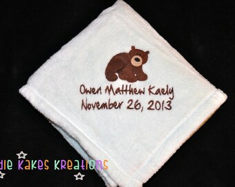 Personalized Baby Blanket with Name, Birthdate and Your Choice of Design / Cotton or Microfleece / Bear