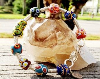 African Trade Bead Bangle