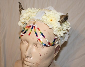 Rainbow Satyr Head Piece