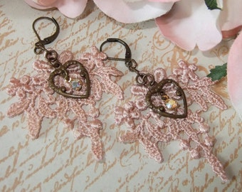 Soft Pink Venetian Lace earrings with Chocolate Ox Heart and Swarowski AB Crystal