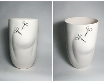 Large Scale Sculpted Pot with Surgical Clips