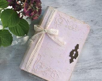 Fairytale Wedding Guest Book, Blush Pink Wedding Scrapbook, Handmade Photo Album, 6x9 inches