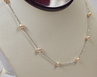 Freshwater Pearl Necklace Solid 14kt White Gold
