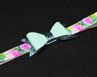 Blue Glitter Faux Leather Bow