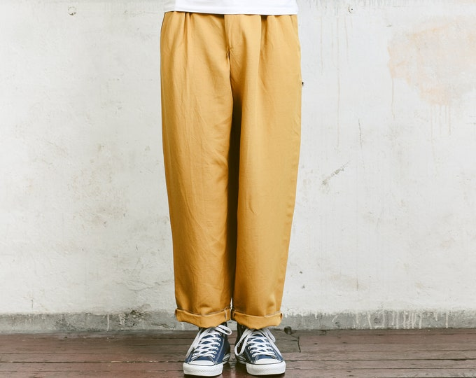 Men Linen Blend Trousers . Mens 80s Pants Straight Leg Dad Pants Oldschool Chinos Nerd Everyday Clothing Dad Gift . size Small S